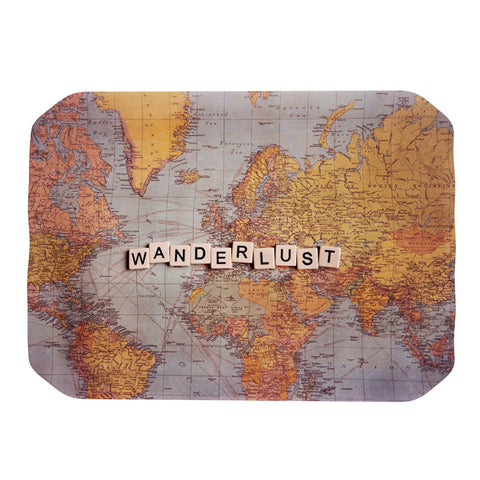 "Sylvia Cook ""Wanderlust Map"" World Place Mat - KESS InHouse"