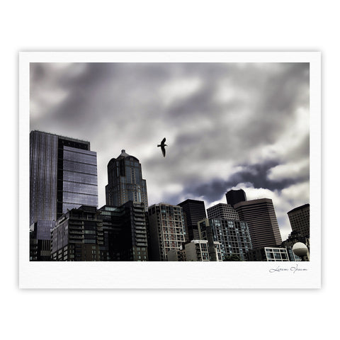 "Sylvia Cook ""Seattle Skyline"" City Clouds Fine Art Gallery Print - KESS InHouse"