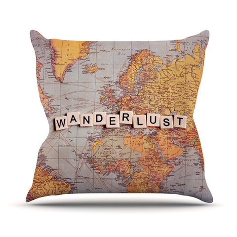 "Sylvia Cook ""Wanderlust Map"" World Outdoor Throw Pillow - KESS InHouse  - 1"