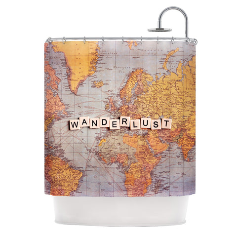 "Sylvia Cook ""Wanderlust Map"" World Shower Curtain - KESS InHouse"