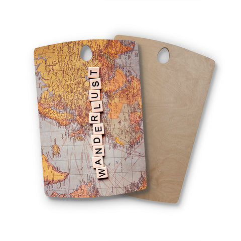 "Sylvia Cook ""Wanderlust Map"" World Rectangle Wooden Cutting Board"