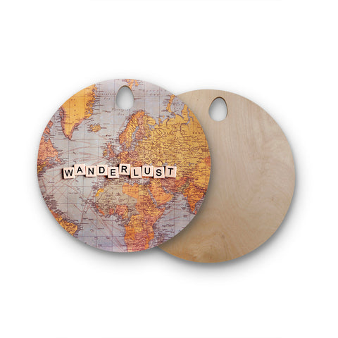"Sylvia Cook ""Wanderlust Map"" World Round Wooden Cutting Board"