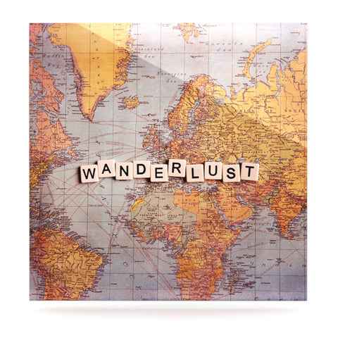 "Sylvia Cook ""Wanderlust Map"" World Luxe Square Panel - KESS InHouse  - 1"