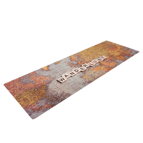 "Sylvia Cook ""Wanderlust Map"" World Yoga Mat - KESS InHouse  - 1"