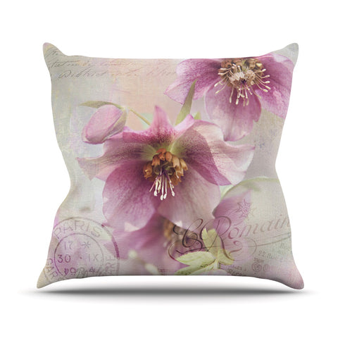 "Sylvia Cook ""Hellabore"" Pink Petals Throw Pillow - Outlet Item"