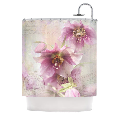 "Sylvia Cook ""Hellabore"" Pink Petals Shower Curtain - KESS InHouse"