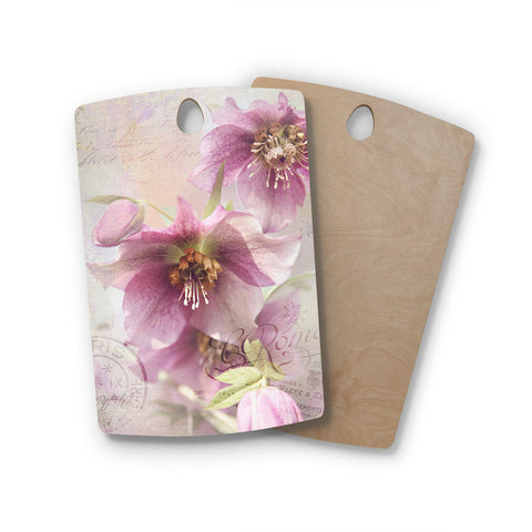 "Sylvia Cook ""Hellabore"" Pink Petals Rectangle Wooden Cutting Board"