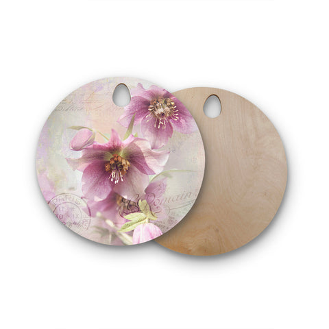 "Sylvia Cook ""Hellabore"" Pink Petals Round Wooden Cutting Board"