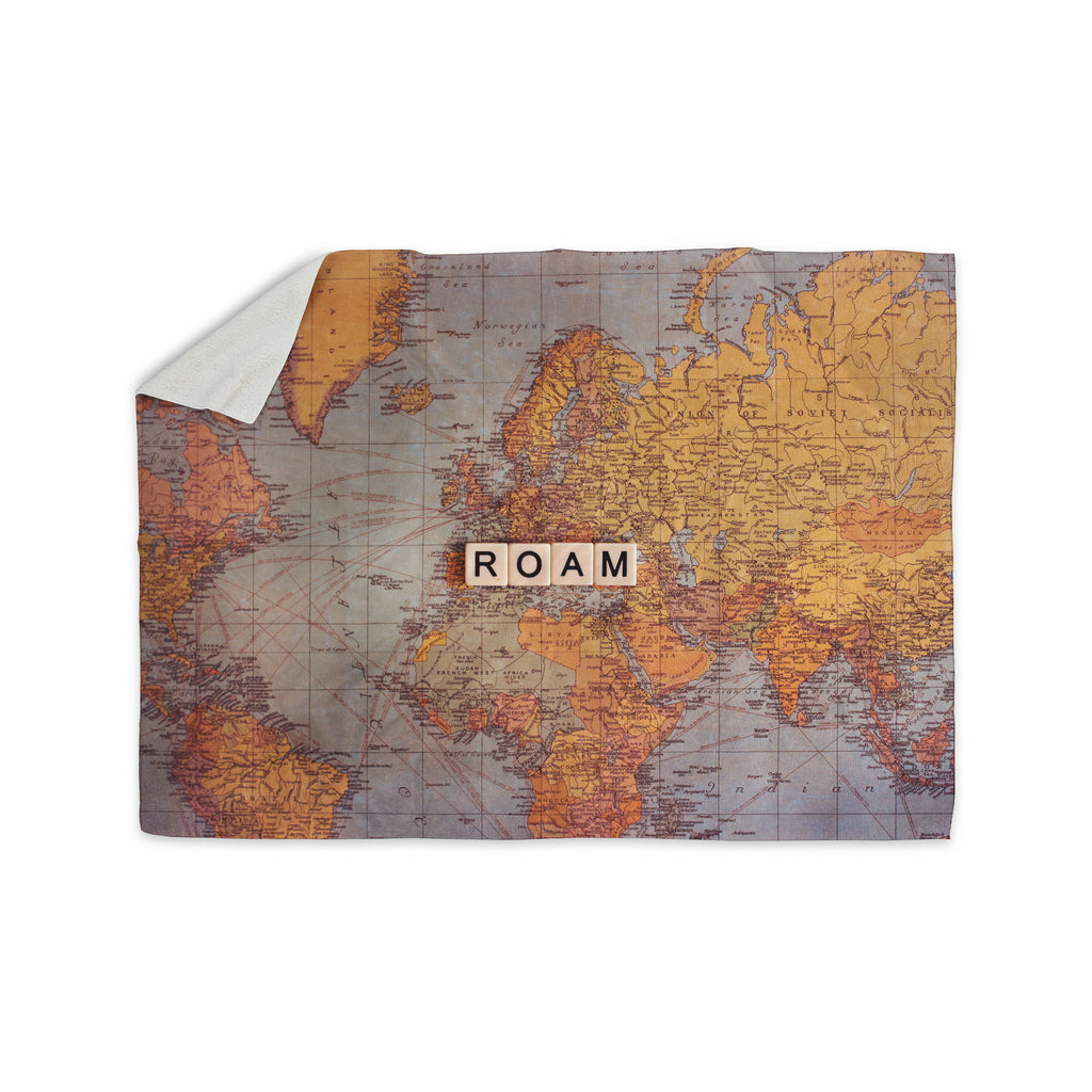 "Sylvia Cook ""Roam Map"" World Sherpa Blanket - KESS InHouse  - 1"