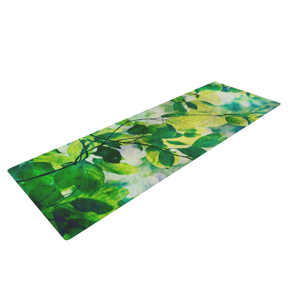 "Sylvia Cook ""Leaves"" Teal Green Yoga Mat - KESS InHouse  - 1"