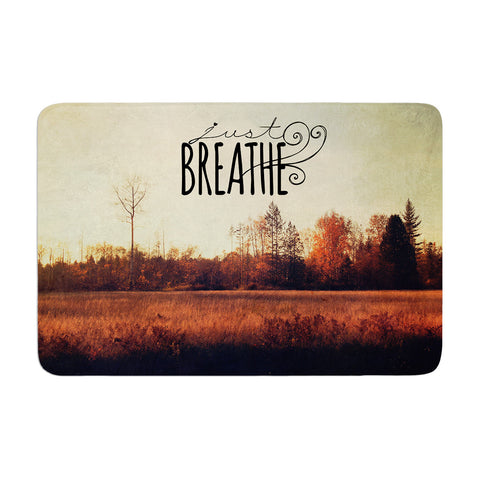"Sylvia Cook ""Just Breathe"" Brown Tan Memory Foam Bath Mat - KESS InHouse"