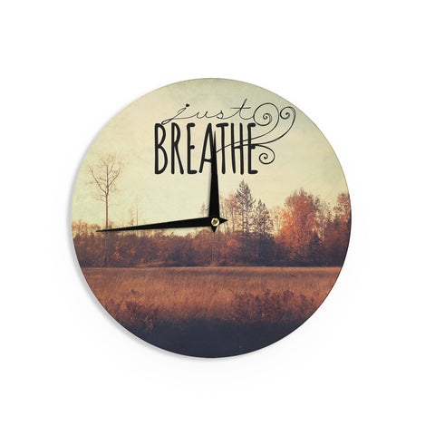 "Sylvia Cook ""Just Breathe"" Brown Tan Wall Clock - KESS InHouse"