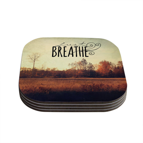 "Sylvia Cook ""Just Breathe"" Brown Tan Coasters (Set of 4)"