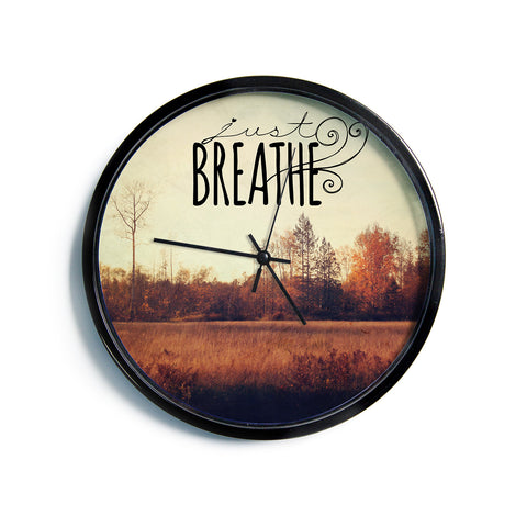 "Sylvia Cook ""Just Breathe"" Brown Tan Modern Wall Clock"