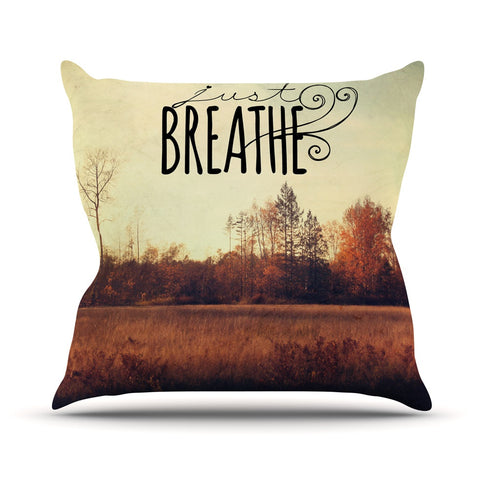 "Sylvia Cook ""Just Breathe"" Brown Tan Outdoor Throw Pillow - KESS InHouse  - 1"