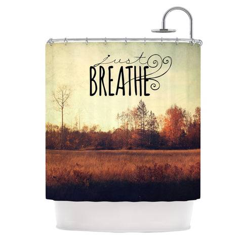 "Sylvia Cook ""Just Breathe"" Brown Tan Shower Curtain - KESS InHouse"