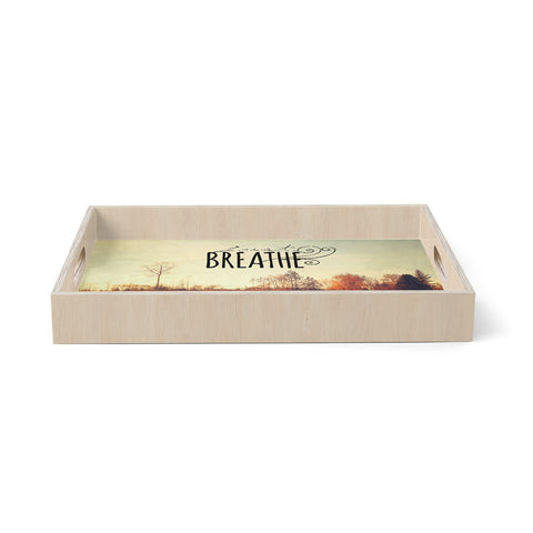 "Sylvia Cook ""Just Breathe"" Brown Tan Birchwood Tray"