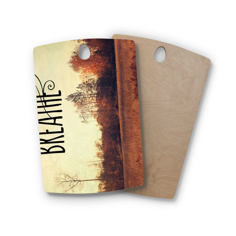"Sylvia Cook ""Just Breathe"" Brown Tan Rectangle Wooden Cutting Board"