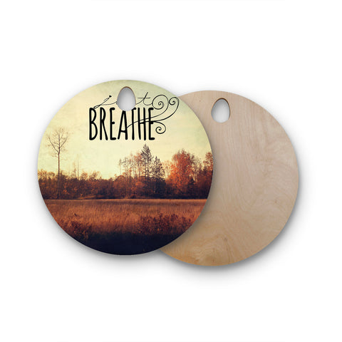"Sylvia Cook ""Just Breathe"" Brown Tan Round Wooden Cutting Board"
