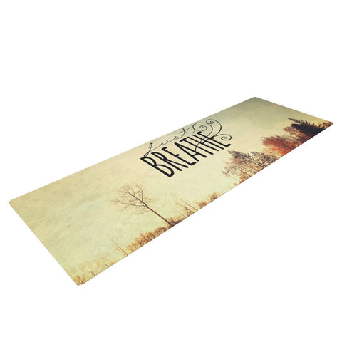 "Sylvia Cook ""Just Breathe"" Brown Tan Yoga Mat - KESS InHouse  - 1"