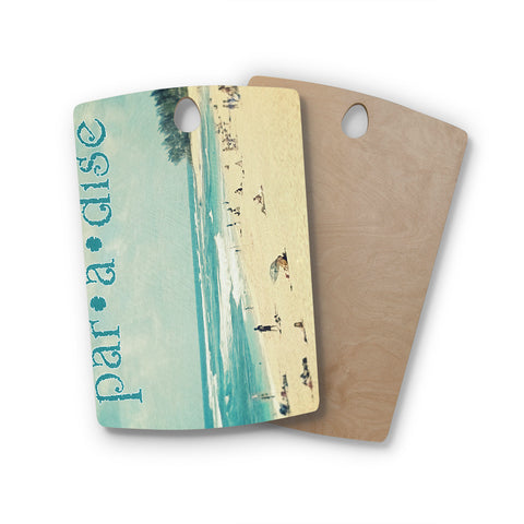 "Sylvia Cook ""Paradise"" Tan Blue Rectangle Wooden Cutting Board"