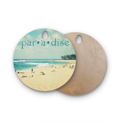 "Sylvia Cook ""Paradise"" Tan Blue Round Wooden Cutting Board"
