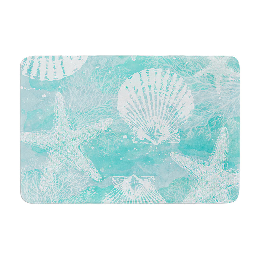 "Sylvia Cook ""Seaside"" Blue Teal Memory Foam Bath Mat - KESS InHouse"