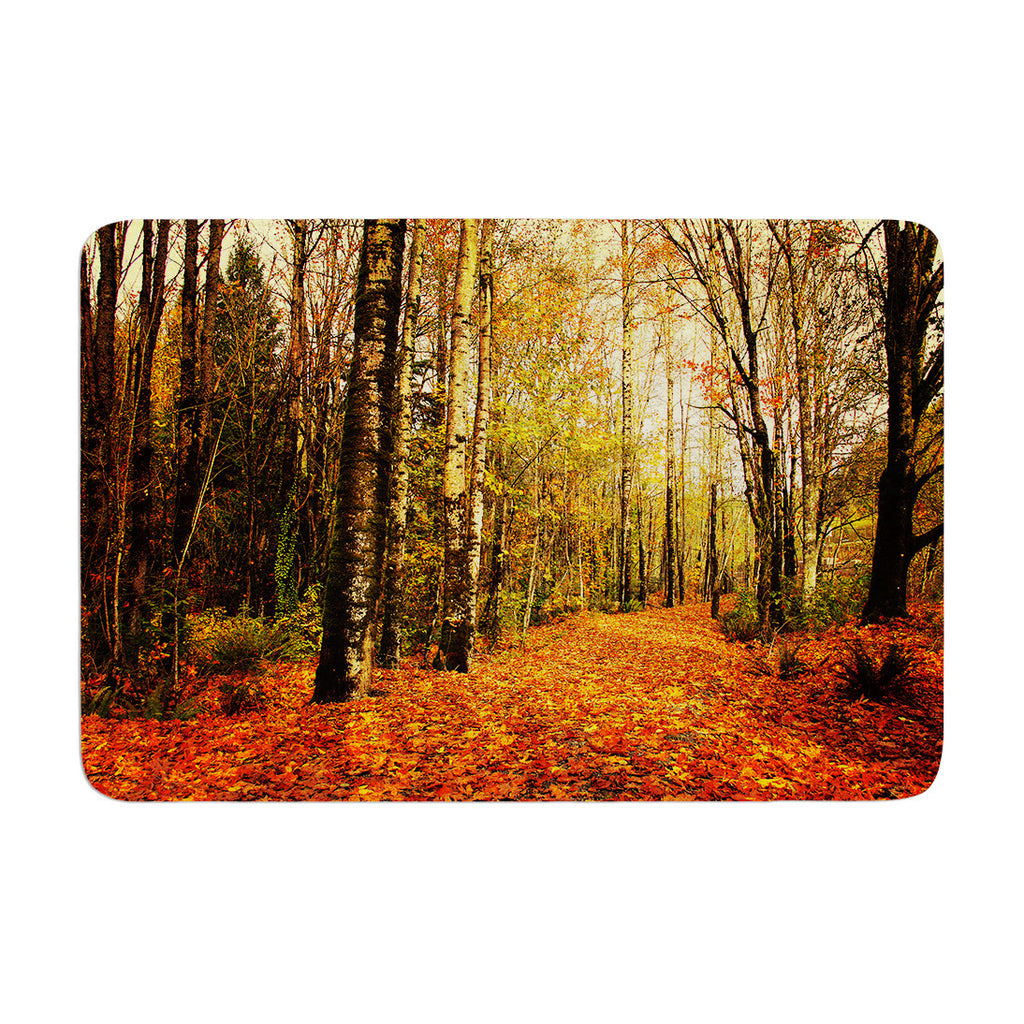 "Sylvia Cook ""Autumn Leaves"" Rustic Memory Foam Bath Mat - KESS InHouse"