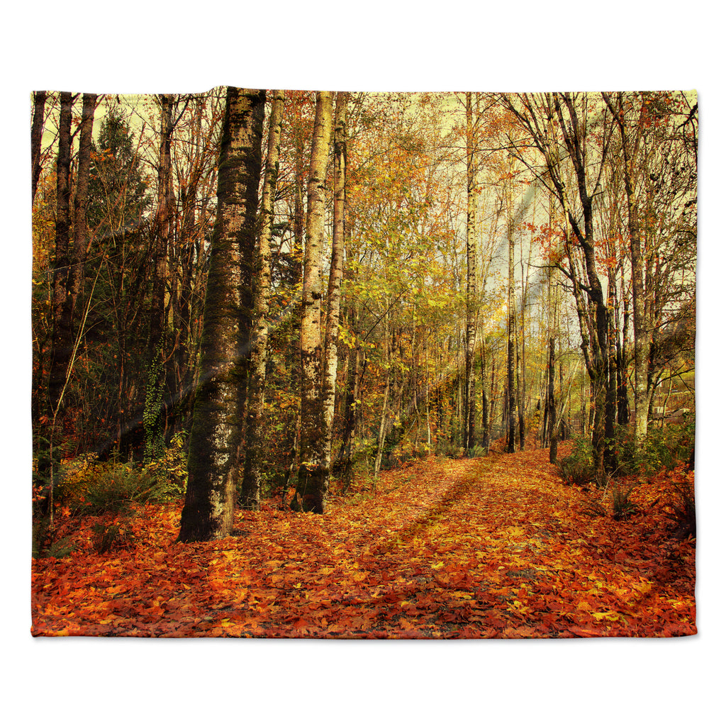 "Sylvia Cook ""Autumn Leaves"" Rustic Fleece Throw Blanket"