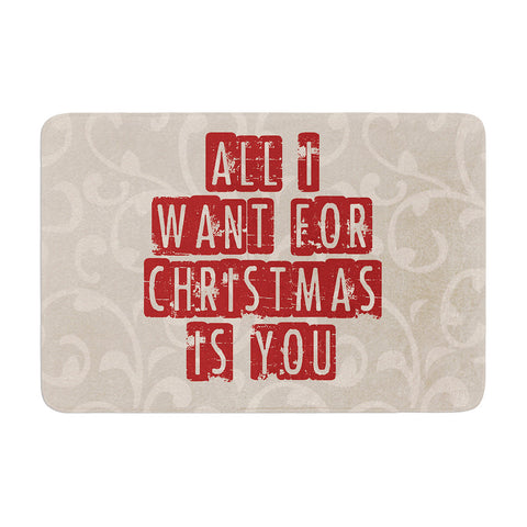 "Sylvia Cook ""All I Want For Christmas"" Holiday Memory Foam Bath Mat - KESS InHouse"