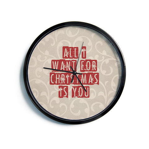 "Sylvia Cook ""All I Want For Christmas"" Holiday Modern Wall Clock"