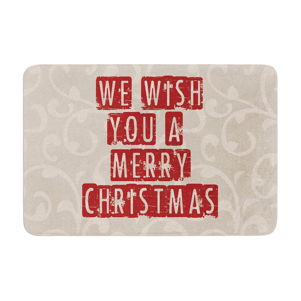 "Sylvia Cook ""We Wish You A Merry Christmas"" Holiday Memory Foam Bath Mat - KESS InHouse"
