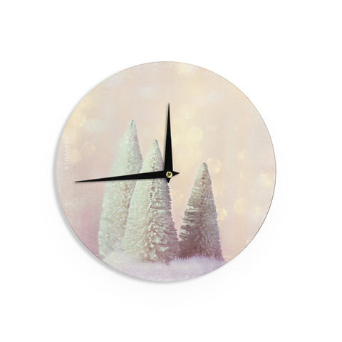 "Sylvia Cook ""Bottle Brush Trees"" Pink Wall Clock - KESS InHouse"
