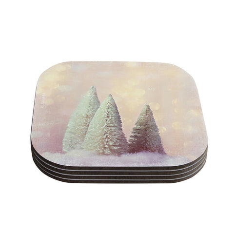 "Sylvia Cook ""Bottle Brush Trees"" Pink Coasters (Set of 4)"