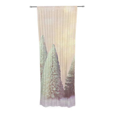 "Sylvia Cook ""Bottle Brush Trees"" Pink Decorative Sheer Curtain - KESS InHouse"