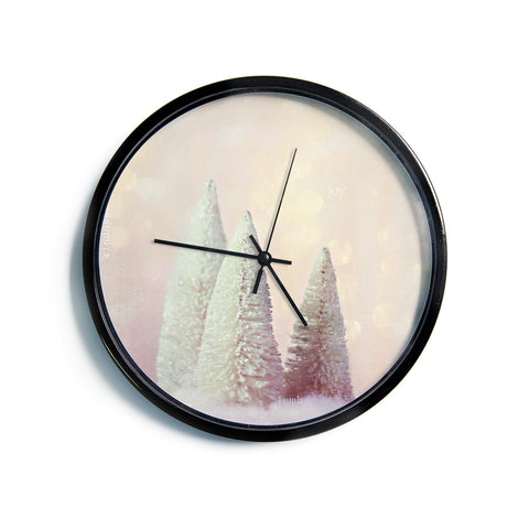 "Sylvia Cook ""Bottle Brush Trees"" Pink Modern Wall Clock"