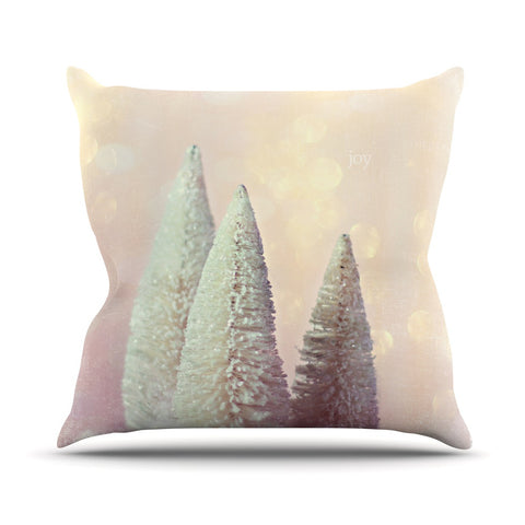 "Sylvia Cook ""Bottle Brush Trees"" Pink Throw Pillow - KESS InHouse  - 1"