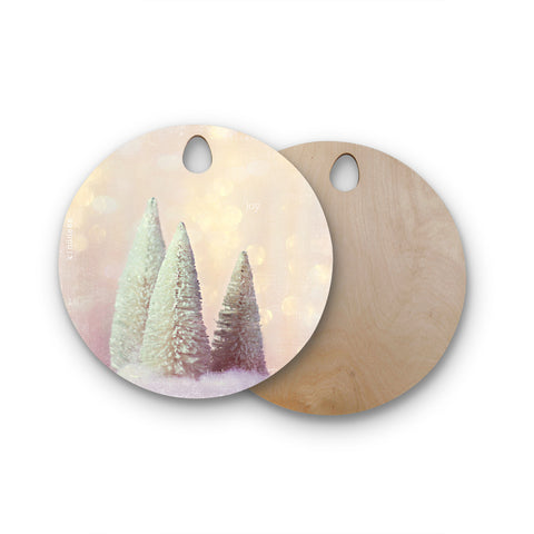 "Sylvia Cook ""Bottle Brush Trees"" Pink Round Wooden Cutting Board"