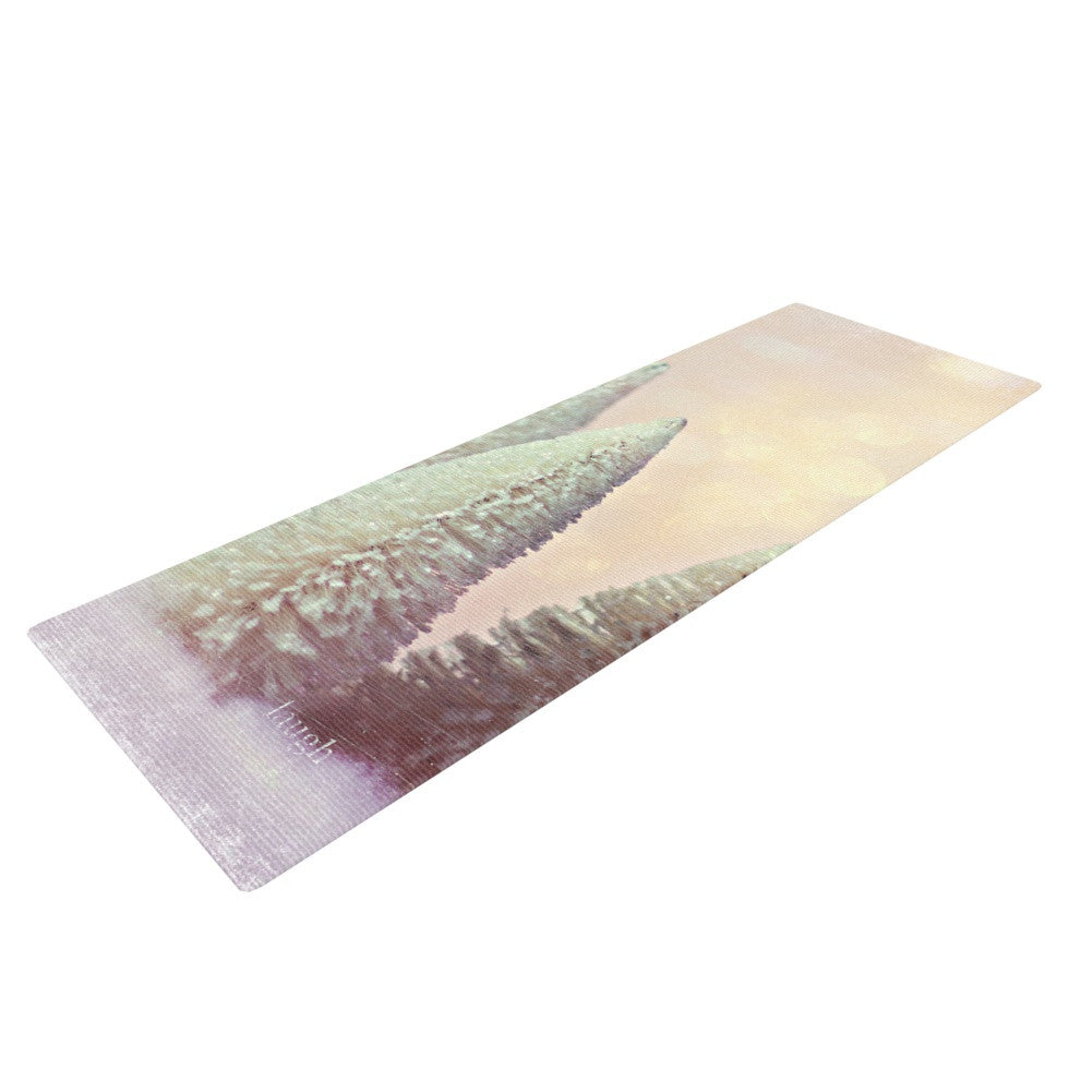 "Sylvia Cook ""Bottle Brush Trees"" Pink Yoga Mat - KESS InHouse  - 1"