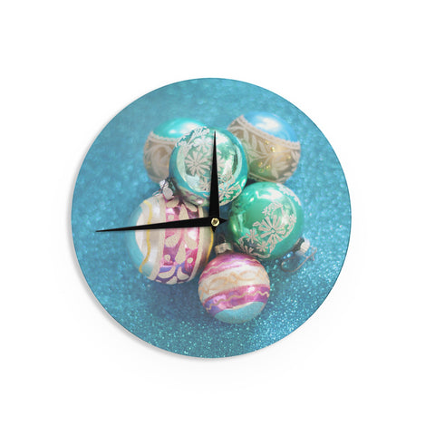 "Sylvia Cook ""Vintage Glass"" Blue Wall Clock - KESS InHouse"