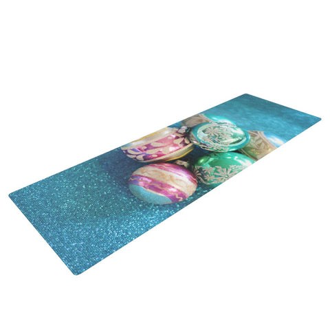 "Sylvia Cook ""Vintage Glass"" Blue Yoga Mat - KESS InHouse  - 1"