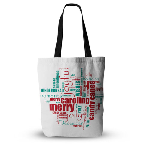 "Sylvia Cook ""Yuletide"" Christmas Typography Everything Tote Bag - KESS InHouse  - 1"