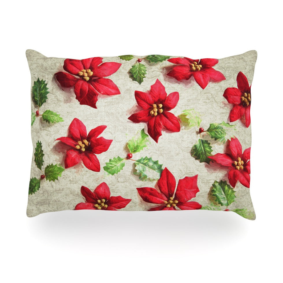 "Sylvia Cook ""Poinsettia"" Holiday Leaves Oblong Pillow - KESS InHouse"