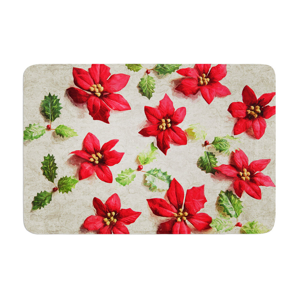 "Sylvia Cook ""Poinsettia"" Holiday Leaves Memory Foam Bath Mat - KESS InHouse"