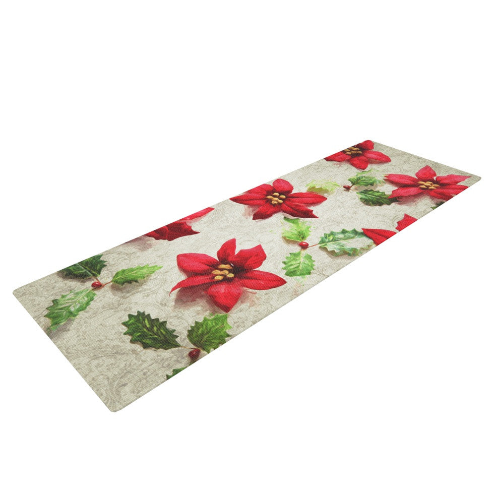 "Sylvia Cook ""Poinsettia"" Holiday Leaves Yoga Mat - KESS InHouse  - 1"