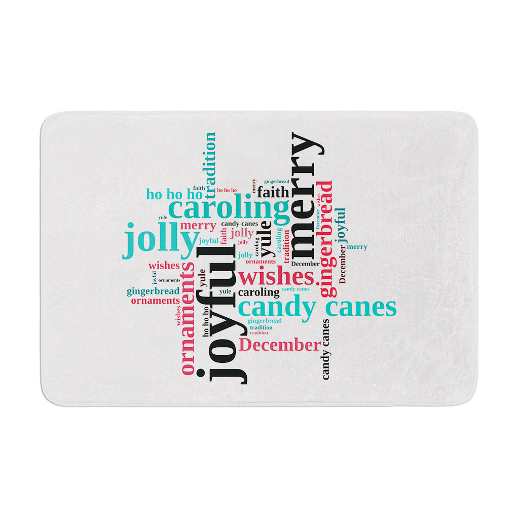 "Sylvia Cook ""Holiday Traditions"" Christmas Typography Memory Foam Bath Mat - KESS InHouse"