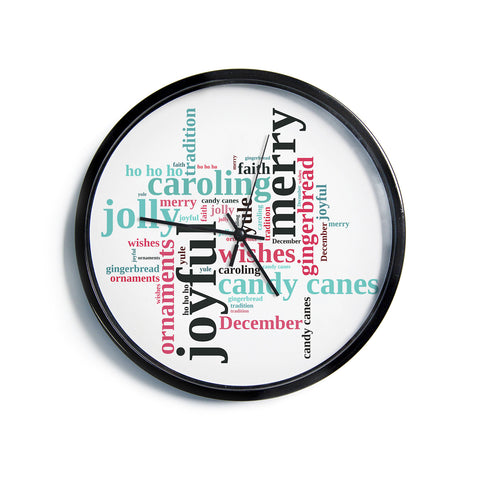 "Sylvia Cook ""Holiday Traditions"" Christmas Typography Modern Wall Clock"