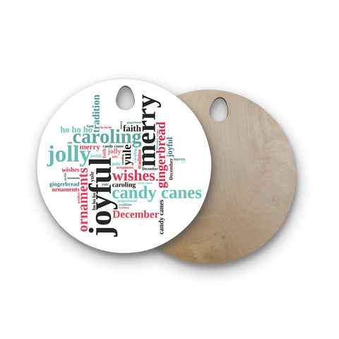 "Sylvia Cook ""Holiday Traditions"" Christmas Typography Round Wooden Cutting Board"