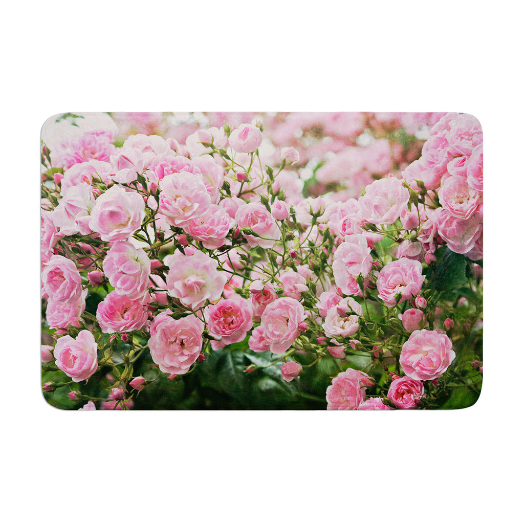 "Sylvia Cook ""The Fairy Rose"" Pink Floral Memory Foam Bath Mat - KESS InHouse"