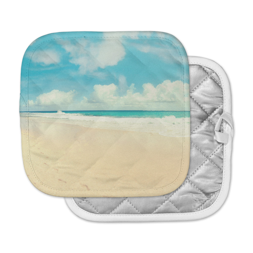 "Sylvia Cook ""Beach Time"" Brown Blue Pot Holder"